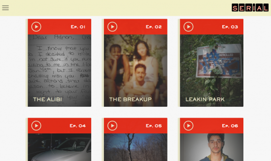 The Serial Podcast page. Screenshot.