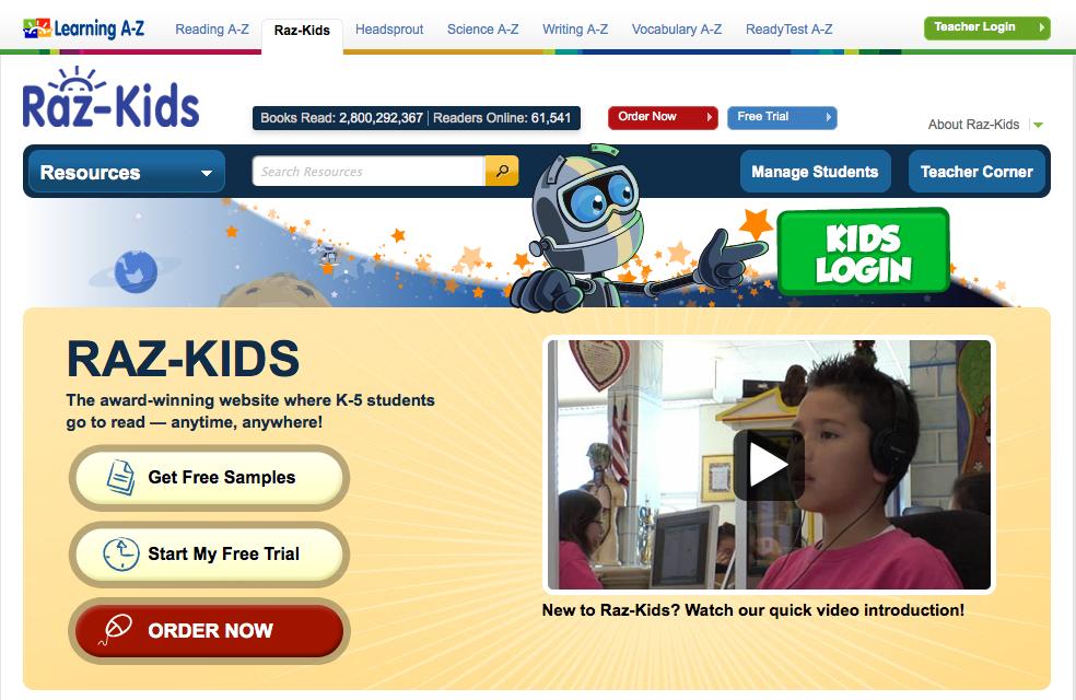Raz-Kids homepage.