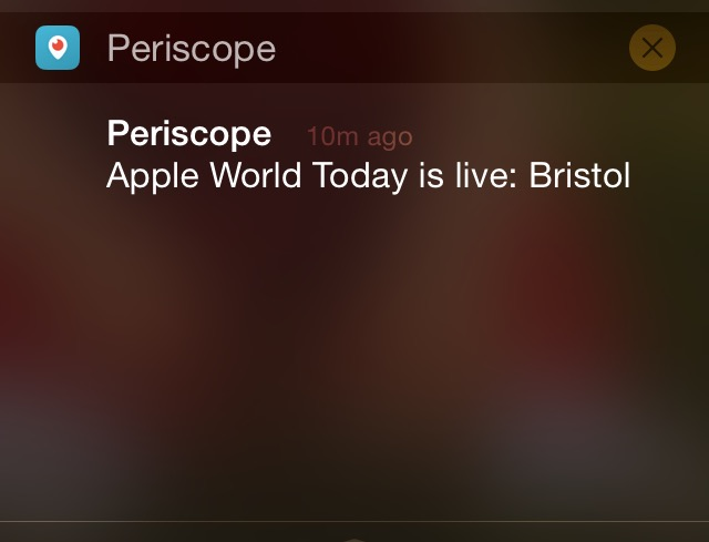 An example of how Periscope notifies you of live streams in your iOS notification center.