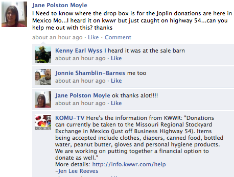 Newsroom, Community Use Facebook as Key Hub After Joplin Tornado