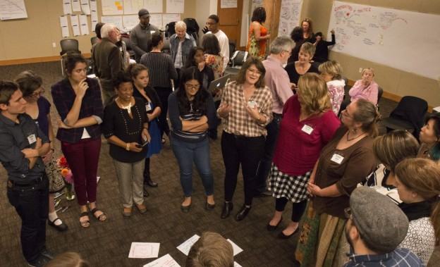Participants gather on the final day of Experience Engagement to discuss what is next for the community of practice. Photo by Emmalee McDonald.